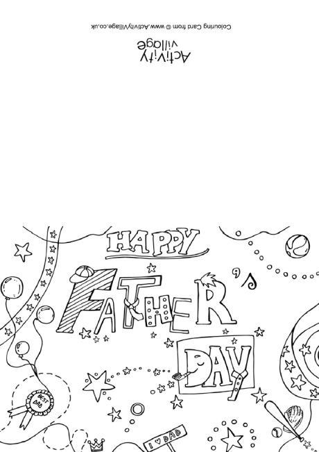 Happy Father's Day Colouring Card 2