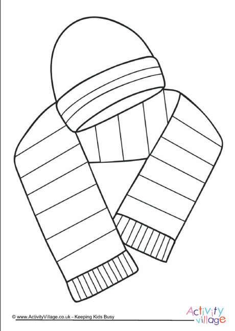 Hat and Scarf Colouring Page