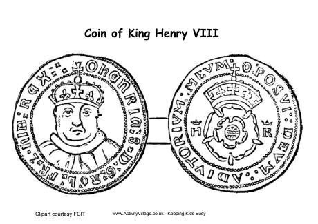 Henry VIII Coins Colouring Page