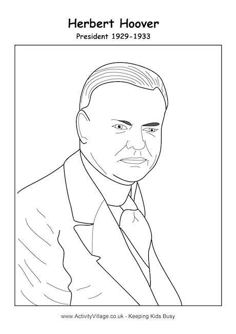 Herbert Hoover Colouring Page