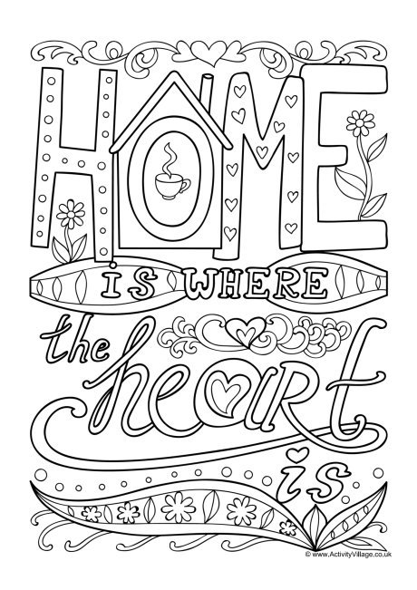 Home Is Where The Heart Is Colouring Page