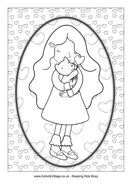 Hug Colouring Page