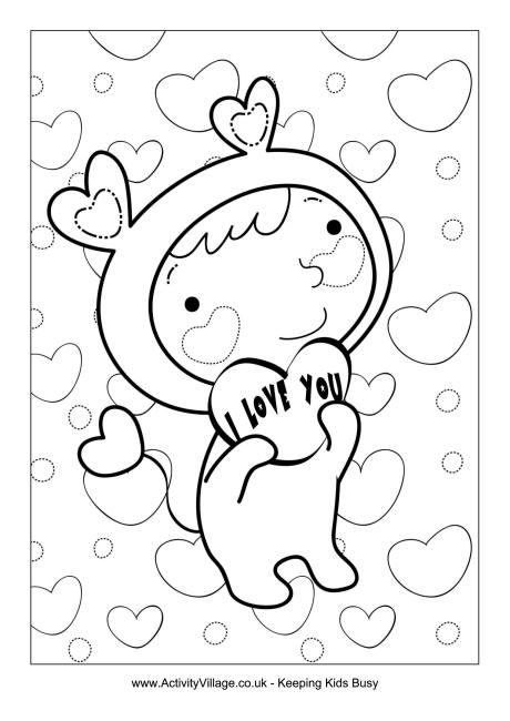 I Love You Cherub Colouring Page