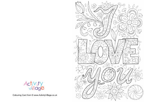 I Love You Doodle Colouring Card