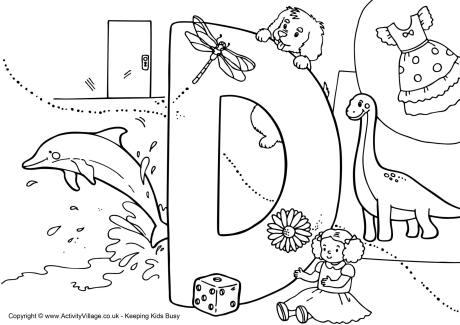 I Spy Alphabet Colouring Page D