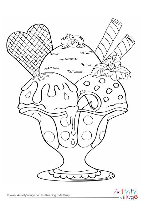 Ice Cream Sundae Colouring Page