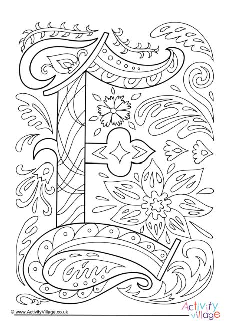 Illuminated Letter E Colouring Page