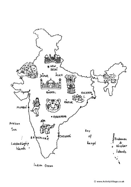 India Map Colouring Page