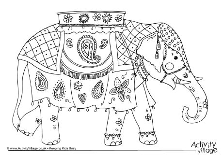 Indian Elephant Colouring Page
