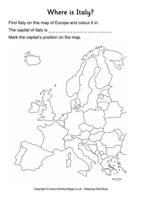 Italy Location Worksheet