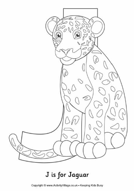 J is for Jaguar Colouring Page