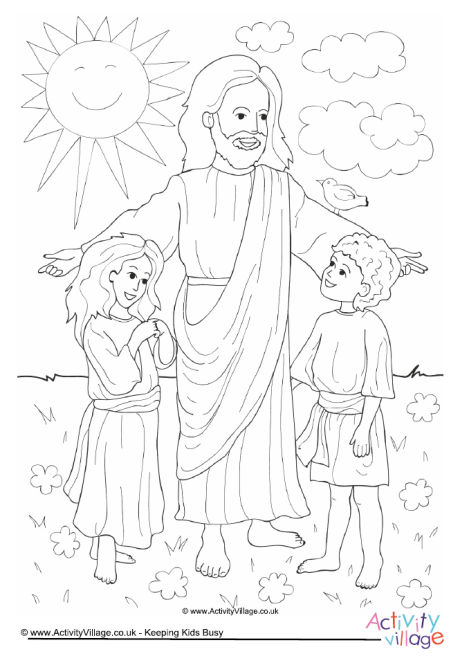 Jesus and Children Colouring Page