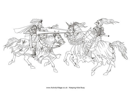 Jousting Colouring Page