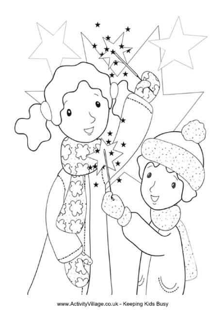 Kids with Sparklers Colouring Page