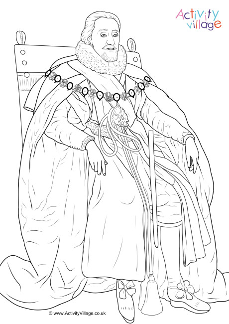 King James I Colouring Page 3