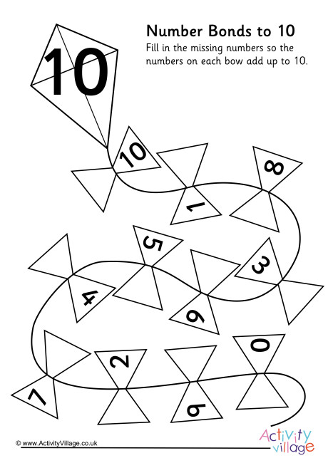 Kite Number Bonds to 10 Worksheet