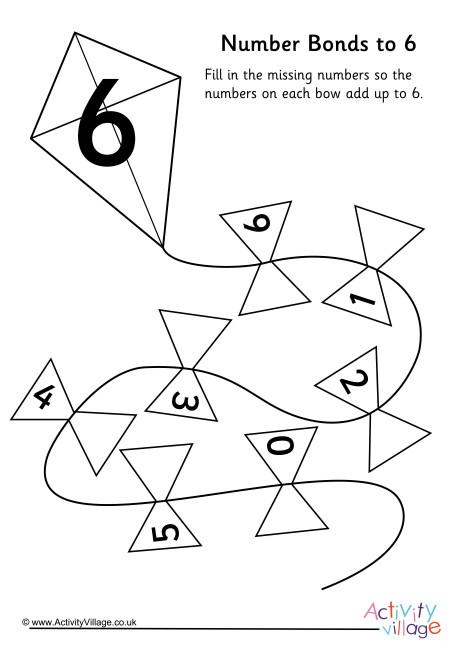 Kite Number Bonds to 6 Worksheet