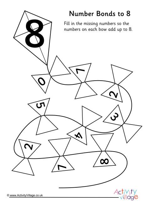Kite Number Bonds to 8 Worksheet