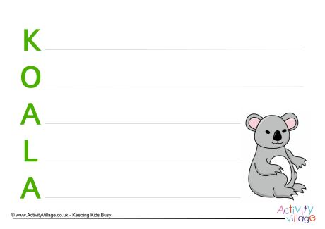 Koala Acrostic Poem Printable