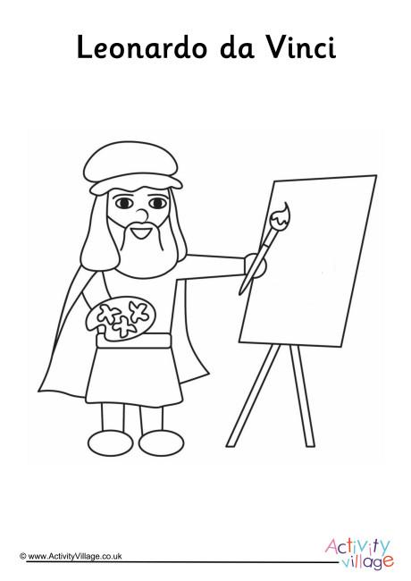 Leonardo da Vinci Colouring Page