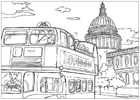 London Sight-Seeing Colouring Page To Print