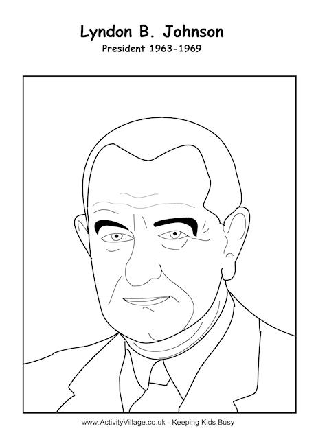 Lyndon B Johnson Colouring Page