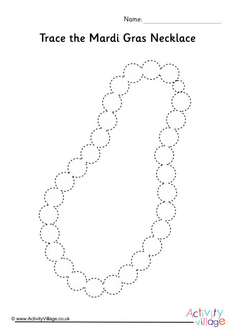 Mardi Gras Necklace Tracing Page