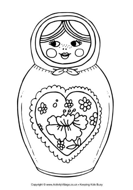 Matryoshka Doll Colouring Page 4
