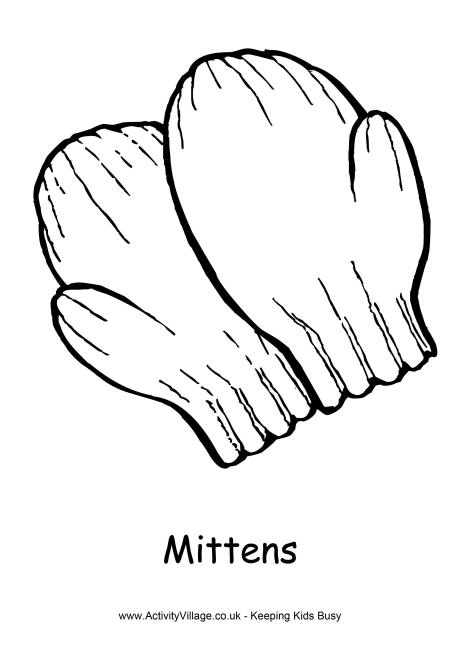 Mittens Colouring Page