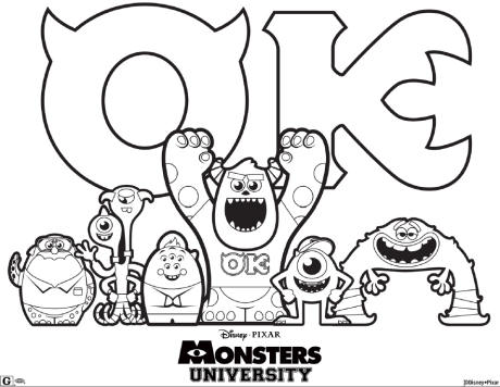 Monsters University Colouring Page