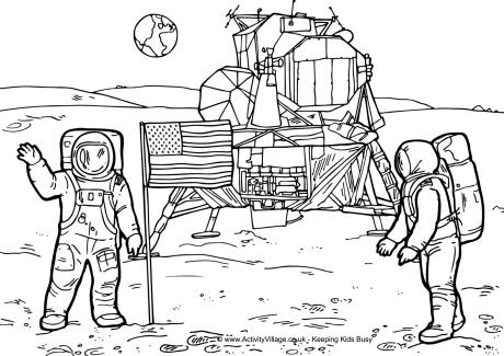 Moon Landing Colouring Page