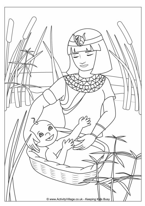 Moses in the Basket Colouring Page