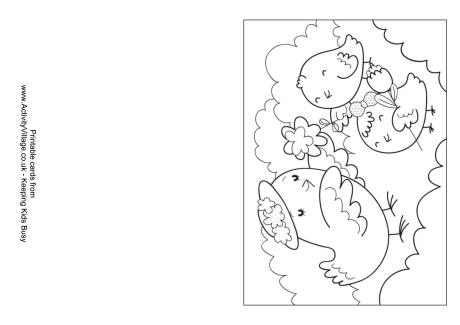 Mother and Baby Birds Colouring Card
