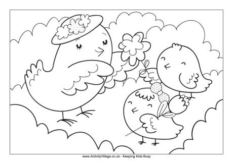 Mother and Baby Birds Colouring Page