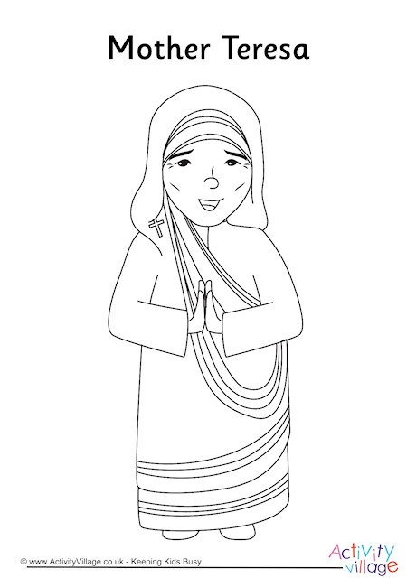 Mother Teresa Colouring Page 1