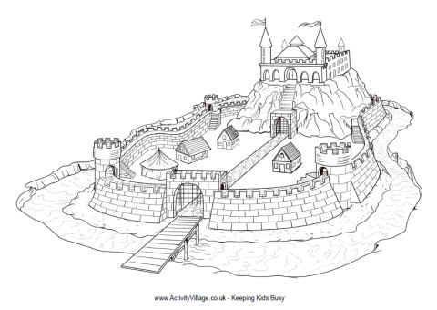 Motte And Bailey Castle Colouring Page To Print