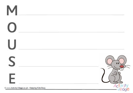 Mouse Acrostic Poem Printable