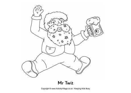 Mr Twit Colouring Page