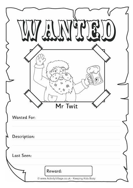 Mr Twit Wanted Poster