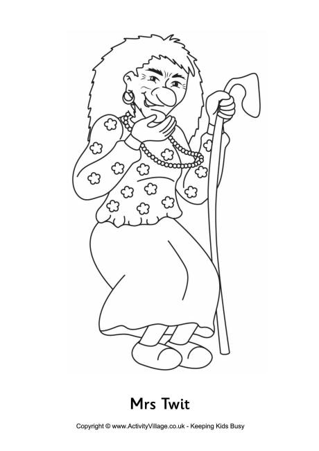 Mrs Twit Colouring Page