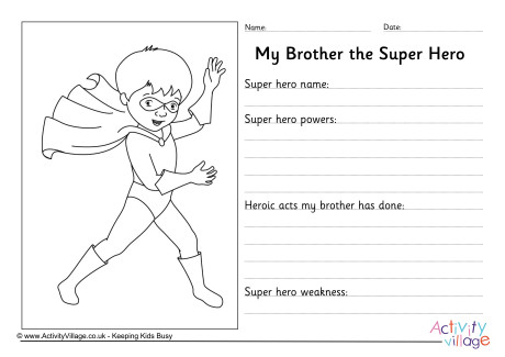 My Brother The Super Hero Worksheet