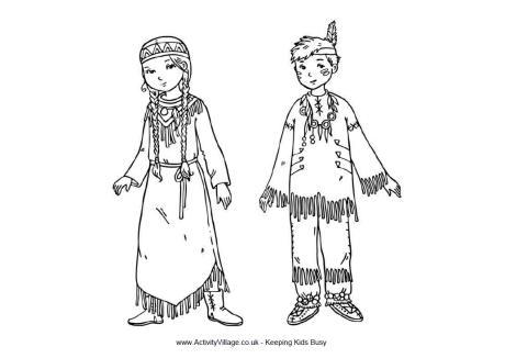 Native American Children Colouring Page