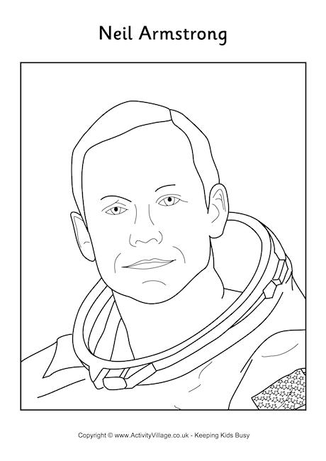 Neil Armstrong Colouring Page 2