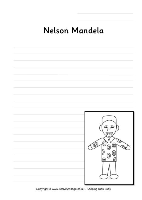Nelson Mandela Writing Page