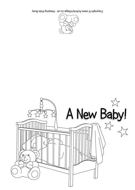 New Baby Colouring Card