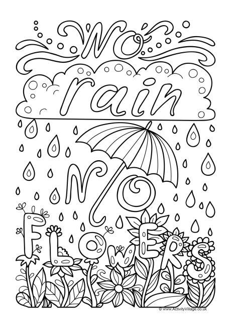 No Rain No Flowers Colouring Page