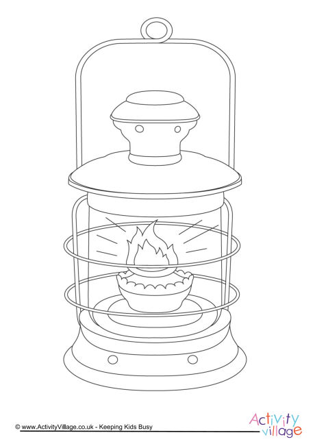 Oil Lamp Colouring Page