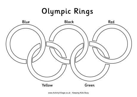 Olympic Rings Colouring Page with Labels