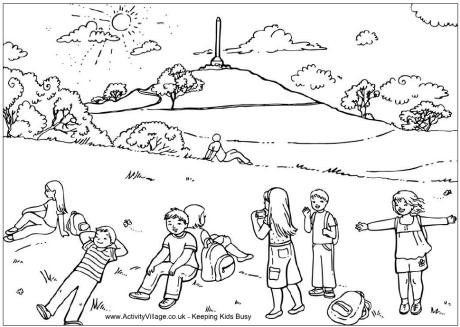 A Hill Colouring Pages Sketch Coloring Page