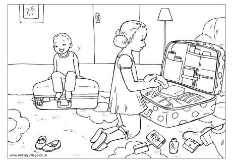 Packing for Vacation Colouring Page